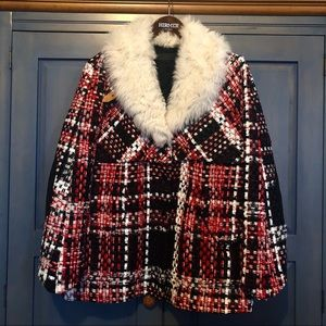 Rag & Bone Antoine red multi tweed coat